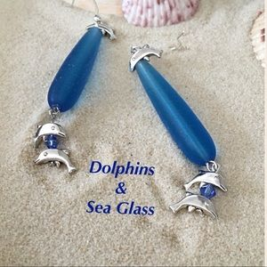 Sea glass and silver dolphins